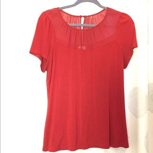 L Red Top with Sheer Panel